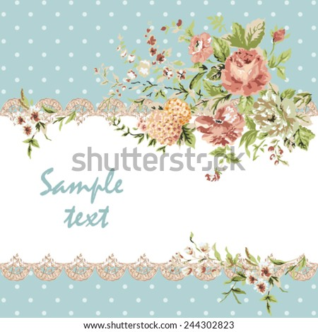 invitation card, pattern, background, floral frame - stock vector