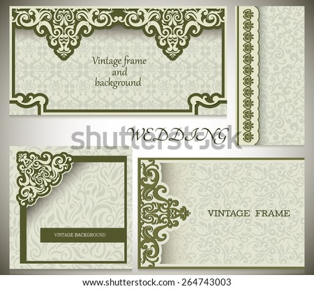 Invitation card's Collection - Baroque Green and beige, Vintage frame, border, design elements - stock vector