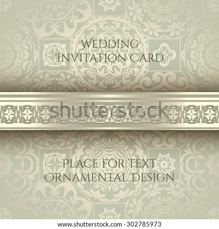 Invitation card, seamless golden ornamental background, vintage border - stock vector