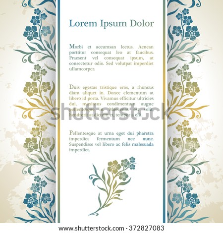 Invitation card with arabesque decor - floral pattern in gold blue color - stock vector