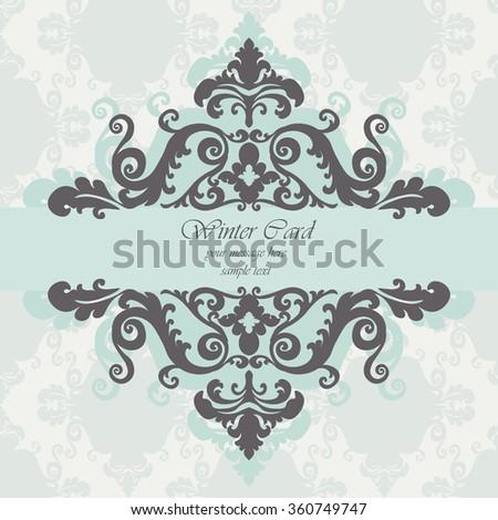 Invitation card with damask royal ornament. Vector - stock vector