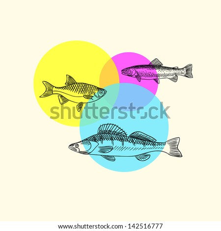 Invitation card with fishes - stock vector