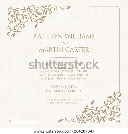 Invitation card with floral seamless pattern. Wedding invitation, Save The Date, valentines day, birthday cards. Vector template cards. Graphic design page. - stock vector