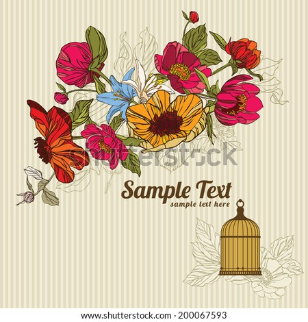 invitation card with flowersin and birdcage vector eps10 - stock vector