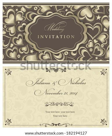 Invitation card with gold hearts  - stock vector