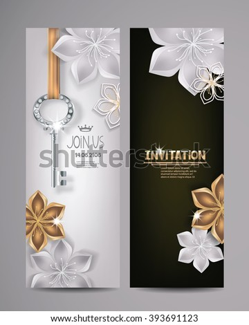 Invitation card with key and floral background. Vector Illustration - stock vector