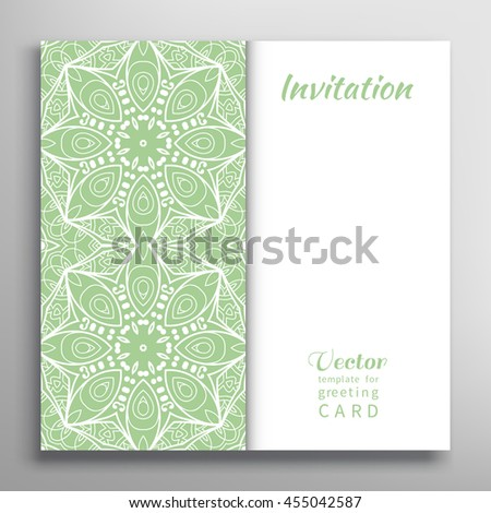 Invitation Card with lace border pattern. Decorative abstract lace background, frame element. Luxury postcard, lacy texture for Wedding, Bridal, Valentine's day, greeting cards or Birthday Invitations - stock vector