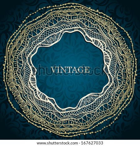 Invitation card with lace frame. Can be used as vintage frame, seamless paisley wallpaper etc.  - stock vector