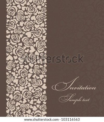 Invitation card with roses and hearts brown - stock vector