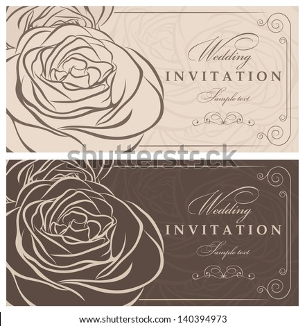 Invitation card with roses brown  and beige - stock vector