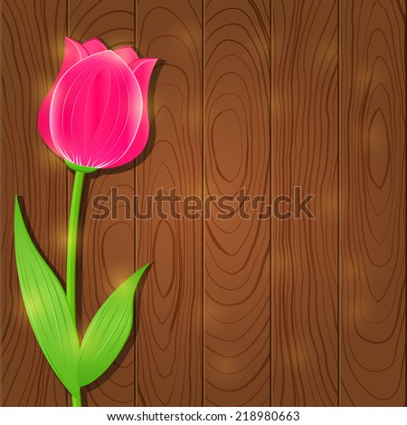 Invitation Card with Single Flower - Pink Tulip on Wooden Background. Vector Floral Background - stock vector