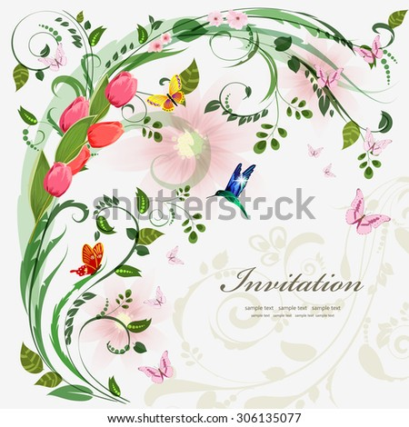 Invitation card with spring flowers. With love for your design. - stock vector