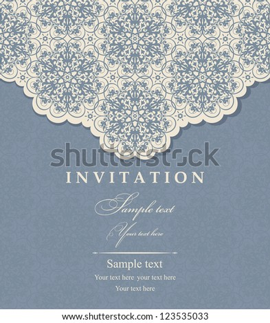 Invitation cards baroque beige, blue - stock vector