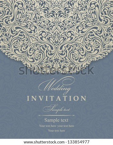 Invitation cards baroque gold, blue - stock vector