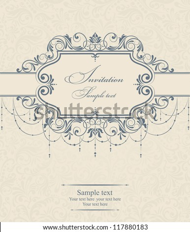 Invitation cards in an old-style beige and blue - stock vector