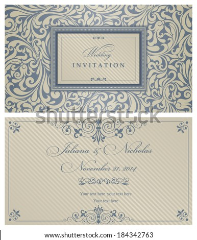 Invitation cards in an old-style blue and gold  - stock vector