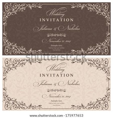 Invitation cards in an old-style brown and beige  - stock vector