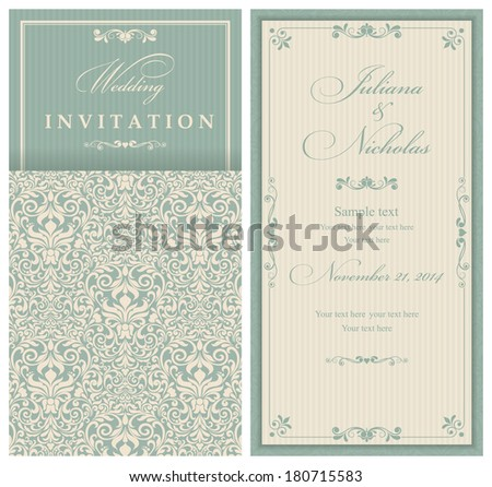 Invitation cards in an old-style green and beige   - stock vector