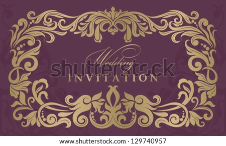 Invitation cards in an old-style vinous and gold - stock vector