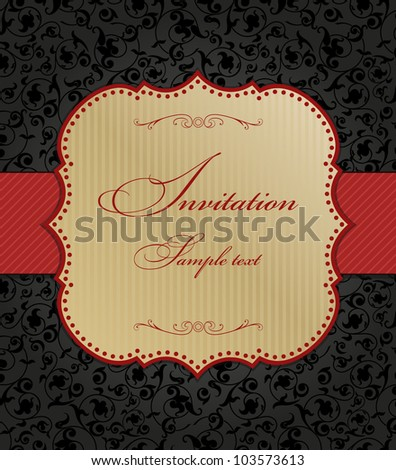 Invitation cards in the Baroque style with a red ribbon - stock vector