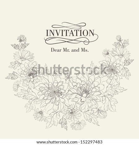 Invitation cards with chrysanthemums. Vector illustration. - stock vector