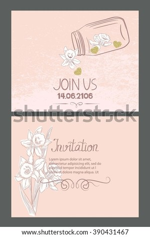 Invitation cards with hand drawn design elements and textured gold hearts - stock vector