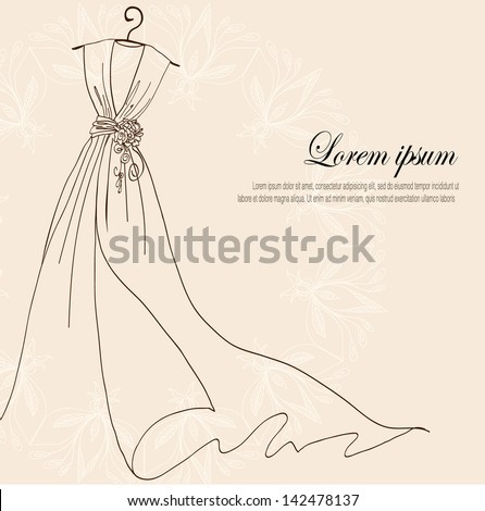 Invitation decorated with wedding dress on a hanger on vintage background - stock vector