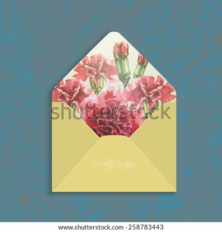 Invitation envelope with watercolor carnation flowers. Open wedding envelope,the reverse side.Floral backdrop. Elegance pattern with red flowers. Vintage vector illustration, grunge background, eps 10 - stock vector