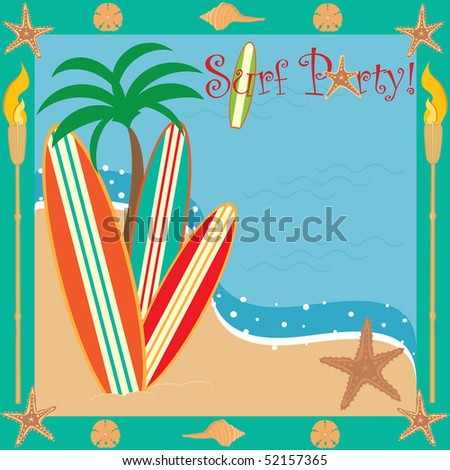 Invitation for a beach or surf party with room for your type - stock vector