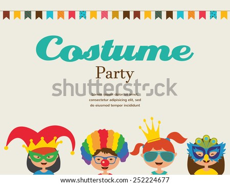 invitation for costume party. Kids wearing different costumes - stock vector