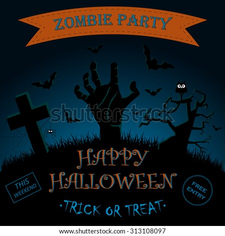 Invitation for Halloween Zombie Party Poster. Vector illustration - stock vector