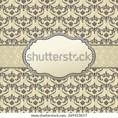 invitation frame art vector package label vintage with retro abstract seamless backgrounds - stock vector