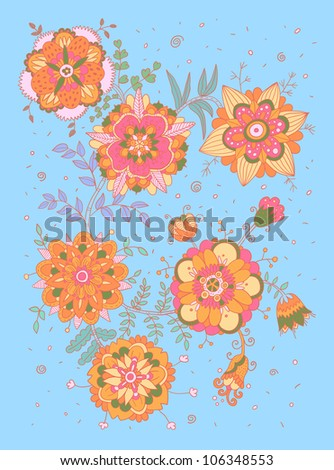 Invitation / greeting card with floral elements - stock vector