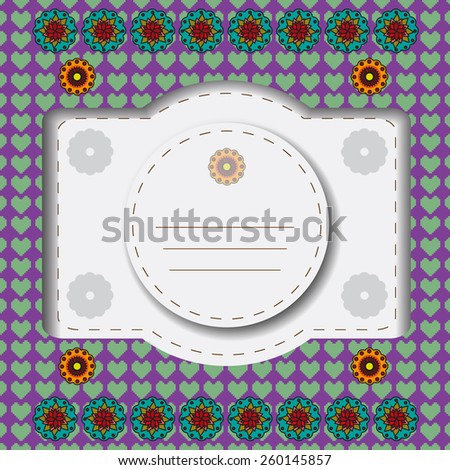 Invitation greeting card with orange and teal flowers on purple backdrop with green hearts. Digital background vector illustration. - stock vector