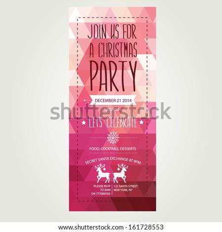 Invitation Merry Christmas.Typography.Vector illustration. - stock vector