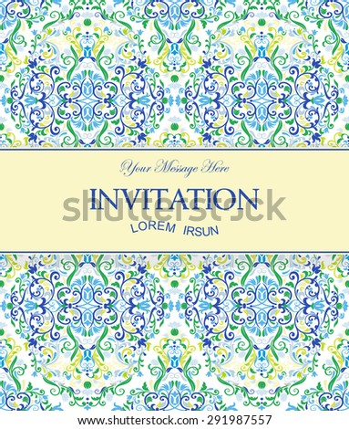 Invitation on a seamless colorful floral pattern background - stock vector