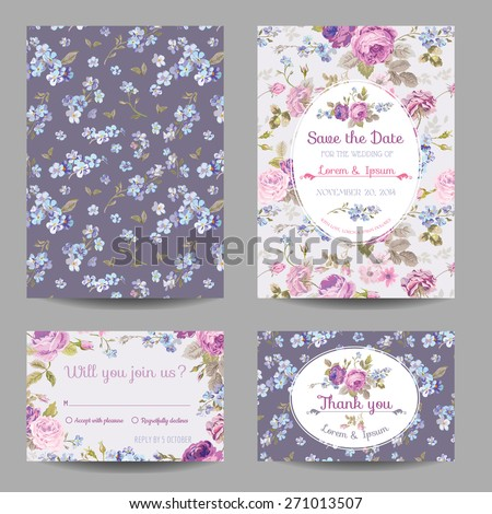 Invitation or Congratulation Card Set - for Wedding, Baby Shower - in vector - stock vector