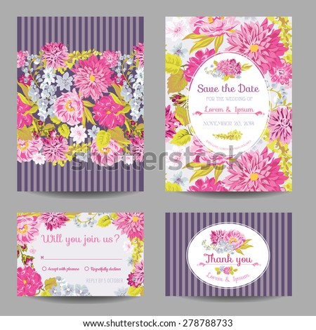 Invitation or Greeting Card Set - for Wedding, Baby Shower - in vector - stock vector