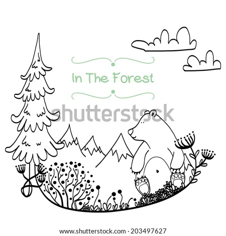 Invitation or greeting card template with cute hand drawn bear sitting in the middle of forest meadow with snowy mountains on the white background. Childish doodle illustration. - stock vector