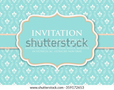 Invitation or wedding card with damask background and elegant floral elements. eps10 - stock vector