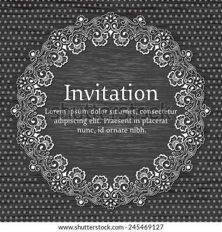 Invitation or wedding card with elegant floral and abstract elements. - stock vector