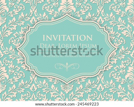 Invitation or wedding card with floral background and elegant floral elements. eps10 - stock vector