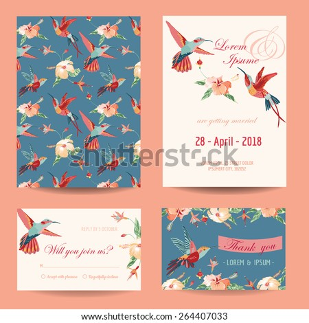 Invitation, Save the Date Card Set - for Wedding, Baby Shower - in vector  - stock vector