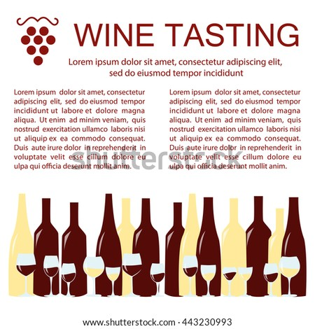 Invitation template for wine testing, event or party. Suitable for tasting events or wine presentation. Flat design background. Vector eps10 - stock vector