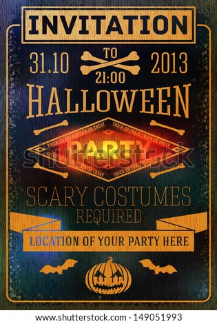 Invitation to halloween party with bats, bones and pumpkins. With place for your text of party location. Vector - stock vector