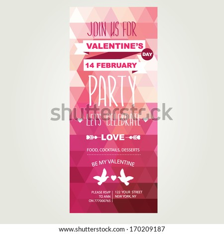 Invitation Valentine's Day.Typography.Vector illustration. - stock vector