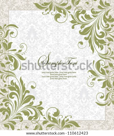 Invitation vintage card with floral ornament - stock vector
