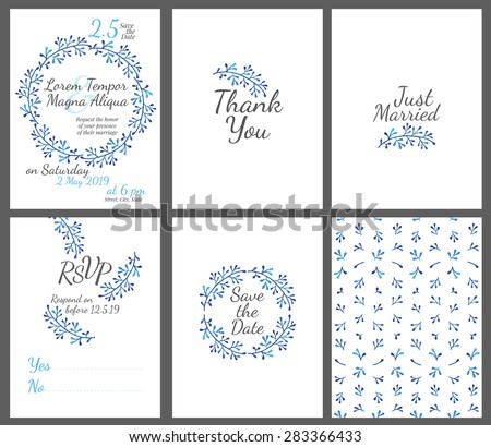 Invitation wedding card set with watercolor flowers vector template - for invitations, flyers, postcards, cards and so on - stock vector