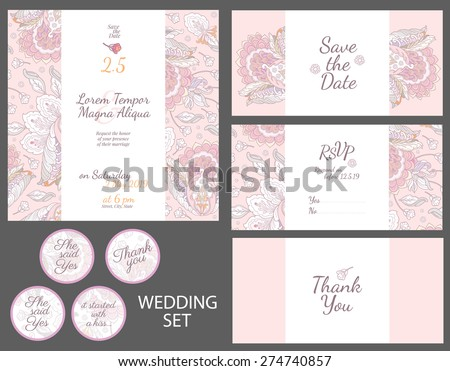 Invitation wedding card with watercolor flowers vector template - for invitations, flyers, postcards, cards and so on - stock vector