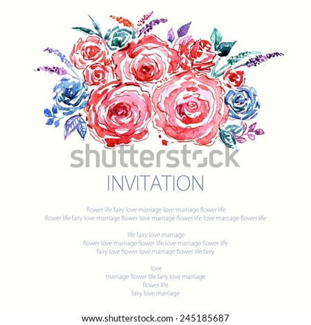 Invitation. Wedding or birthday card. Floral frame. Watercolor background with flowers. - stock vector